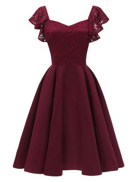 Sweetheart Neck Lace Vintage Dress - RED WINE XL