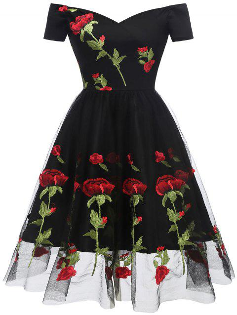Floral Embroidered Prom Dress - BLACK 2XL