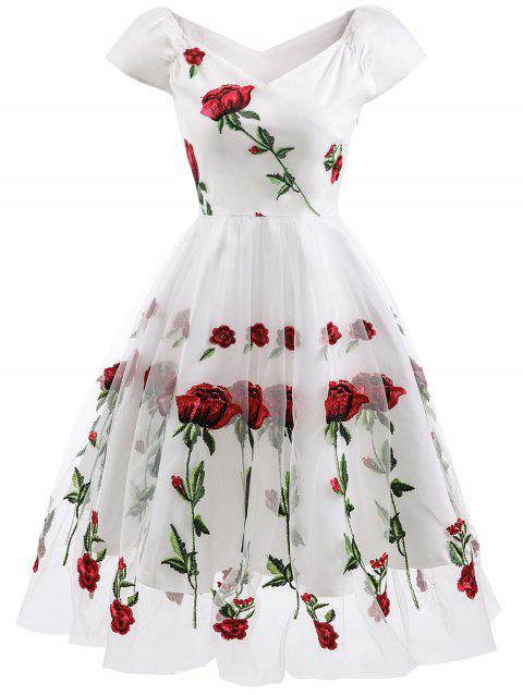 Floral Embroidered Prom Dress - WHITE 2XL