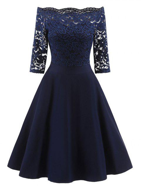 Off Shoulder Scalloped Lace Panel Dress - MIDNIGHT BLUE XL