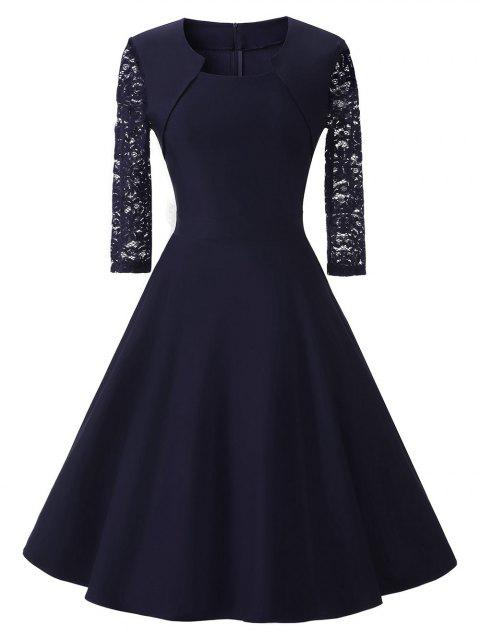 Lace Sleeve Vintage Prom Dress - DEEP BLUE 2XL
