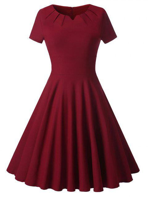 Robe de Cocktail Vintage Ligne A - Rouge Vineux XL