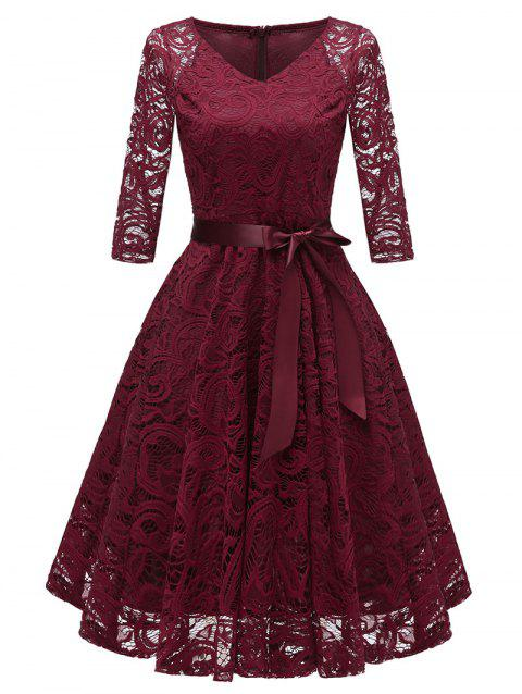 V Neck Bow Belted Lace Sewing Dress - RED WINE M