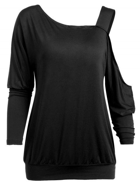 Long Sleeve Open Shoulder Top - BLACK M