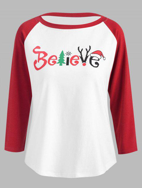 Christmas Believe Print Baseball T-shirt - WHITE L
