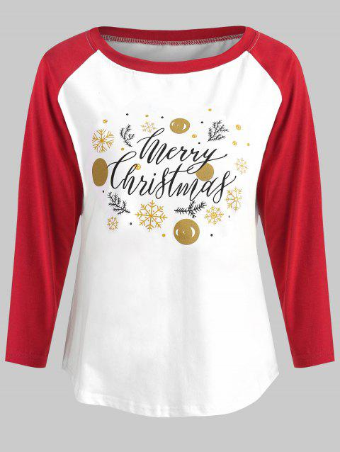 Christmas Print Baseball T-shirt - WHITE S