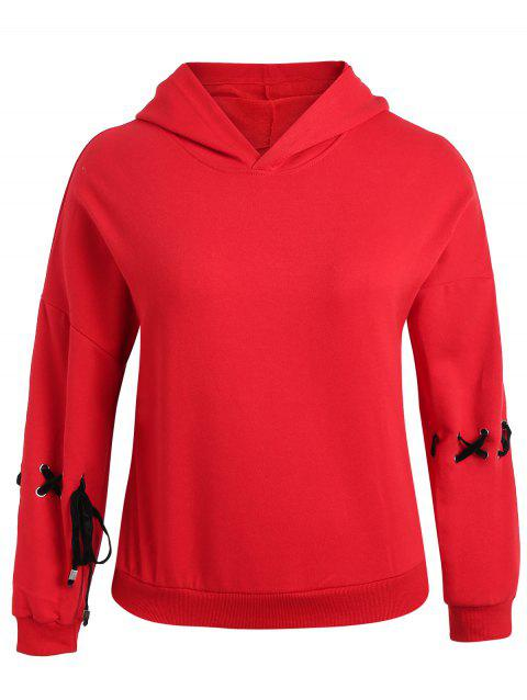 Lace Up Plus Size Drop Shoulder Hoodie - RED 4X