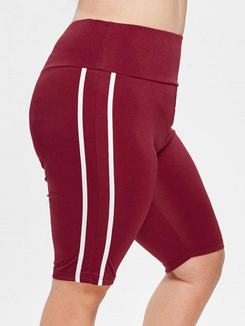 Plus Size Striped Sports Shorts - RED WINE 1X