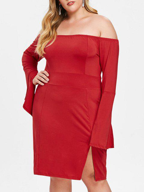 Plus Size Slit Flare Sleeve Fitted Dress