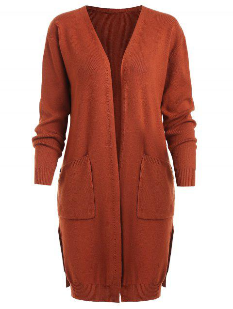 Long Sleeve Open Front Cardigan with Pockets - CHESTNUT RED XL