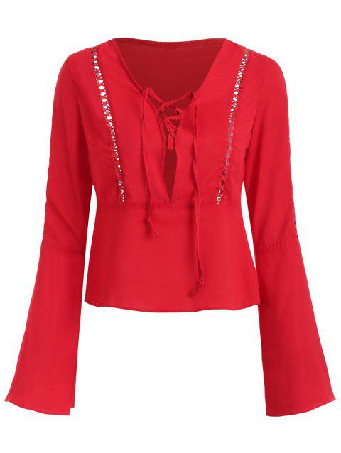 Hollow Out Flare Sleeve Plunging Neckline Blouse - RED 2XL
