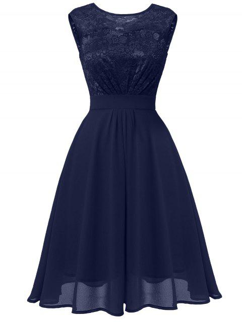 Lace Bodice Fit and Flare Prom Dress - BLUE 2XL