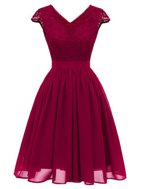 Cap Sleeve Lace Bodice Fit and Flare Dress - RED WINE S