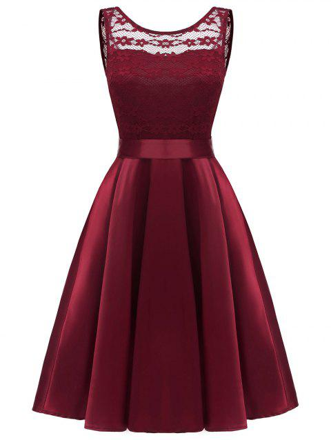Lace Panel Backless Flare Cocktail Dress - RED WINE M