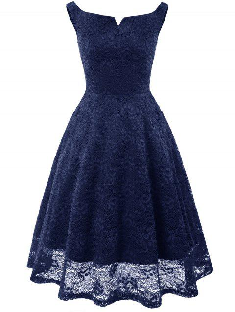 Knee Length Lace Flare Dress - MIDNIGHT BLUE S