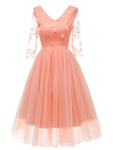 Embroidered Tulle Cocktail Dress - ORANGE PINK 2XL