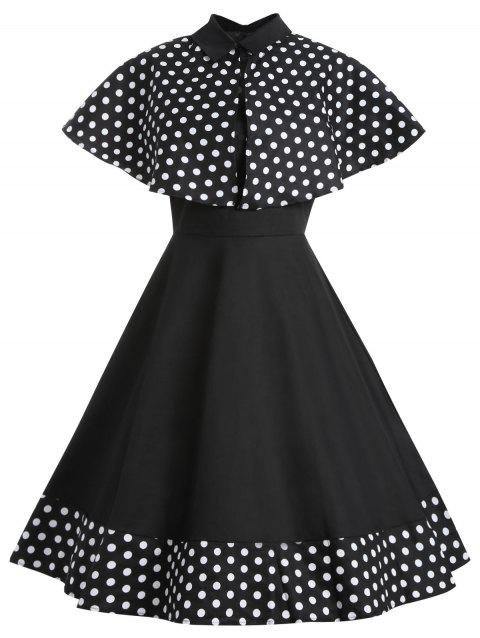 Polka Dot Double Straps Dress with Capelet - BLACK L