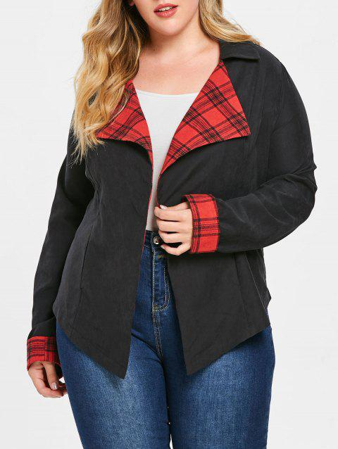 Plus Size Plaid Lapel Jacket - BLACK 1X