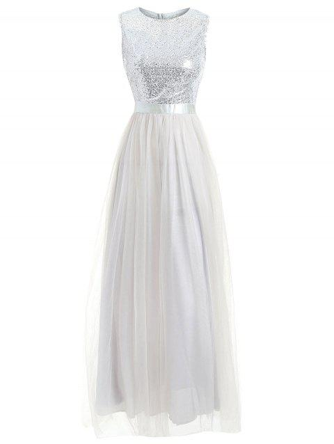 Sleeveless Sequins Maxi Formal Dress - SILVER L