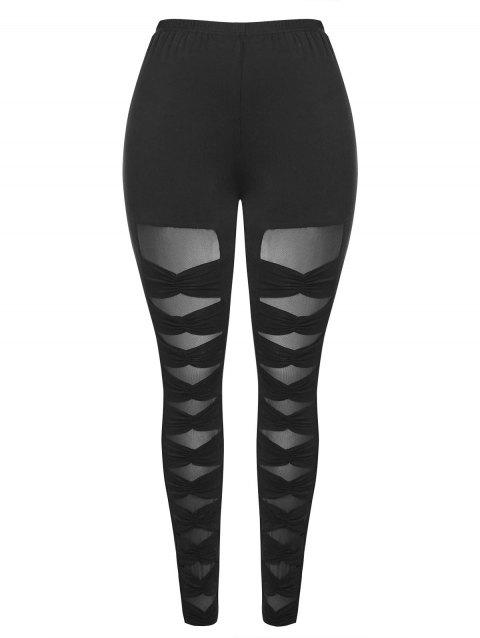 Plus Size Mesh Panel Ruched Leggings - BLACK L