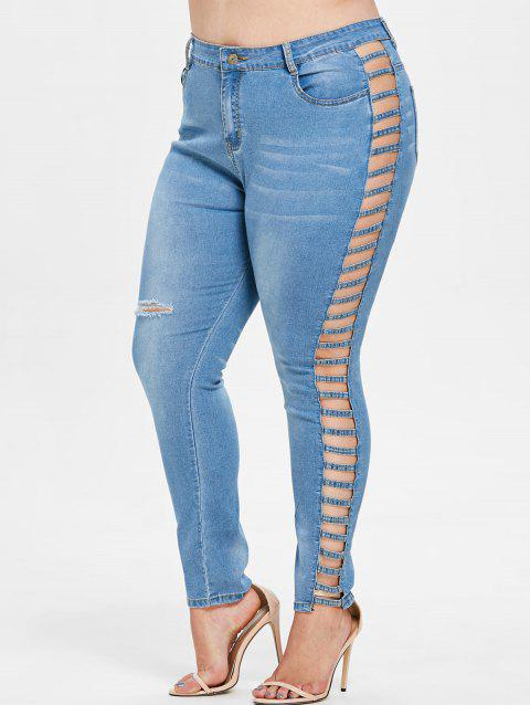 Plus Size Lattice Zipper Jeans - DENIM BLUE L