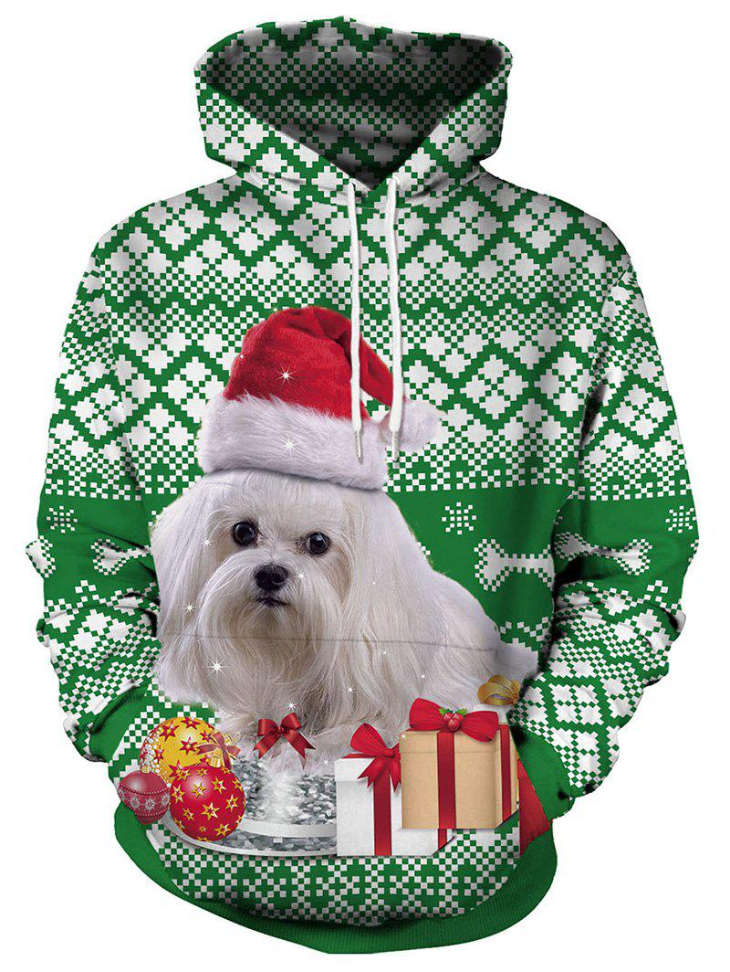 Christmas Dog and Gift Print Pullover Hoodie - GREEN XL