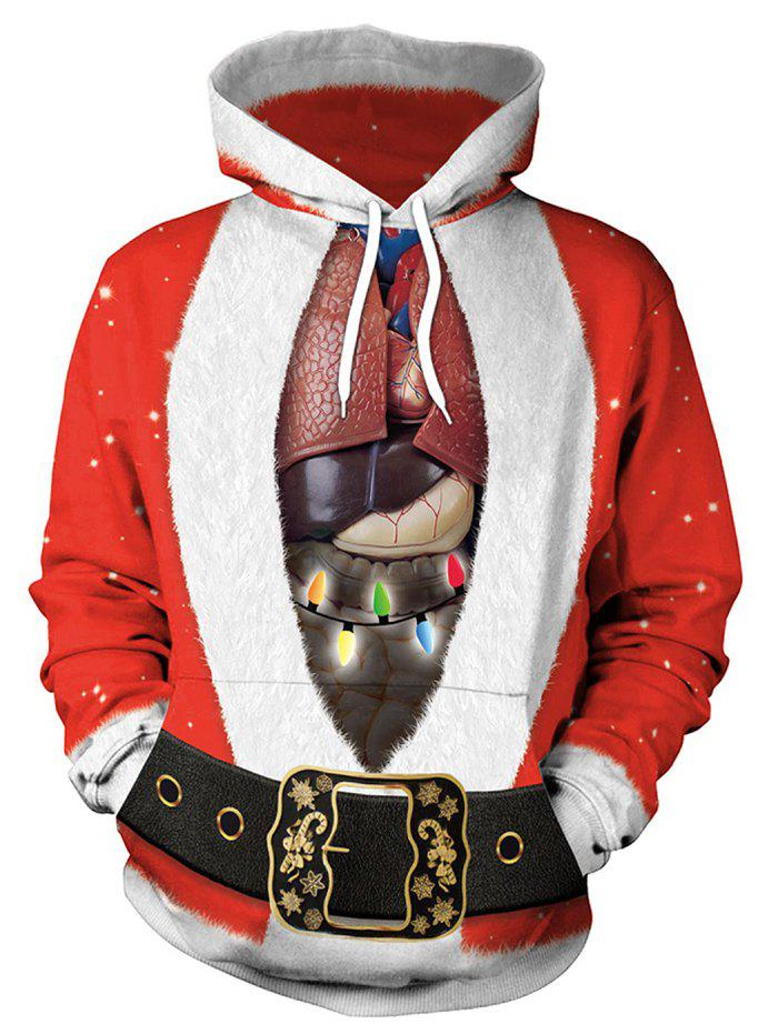 Santa Suit and Heart Print Christmas Pullover Hoodie - RED L