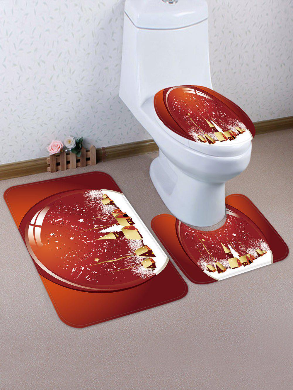Christmas Snowfield Pattern 3 Pcs Toilet Mat Set - multicolor