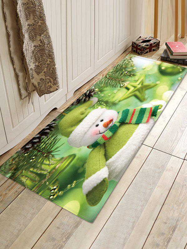 Christmas Snowman Pattern Water Absorption Anti-skid Area Rug - multicolor W16 X L47 INCH
