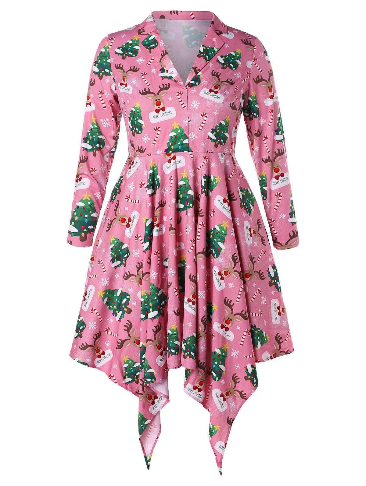 Plus Size Christmas Tree and Elk Print Handkerchief Dress