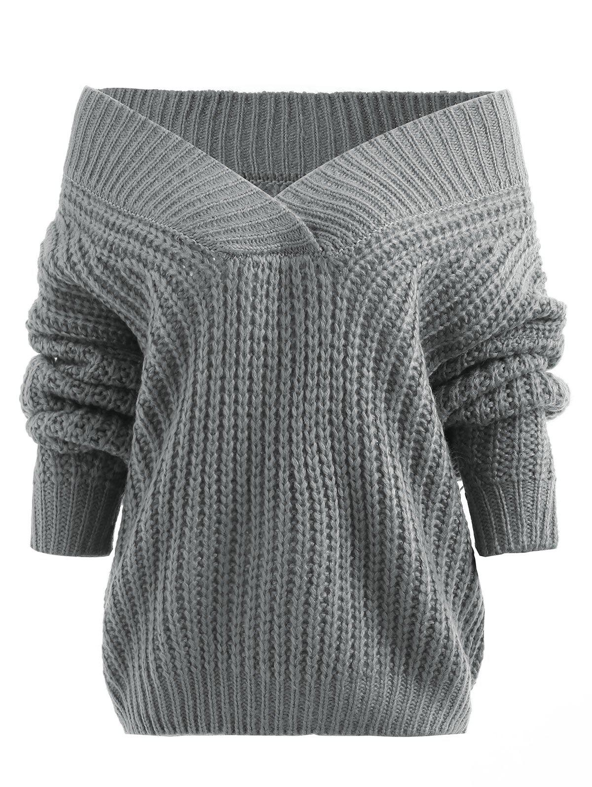 Off Shoulder Chunky Tunic Sweater - GRAY ONE SIZE