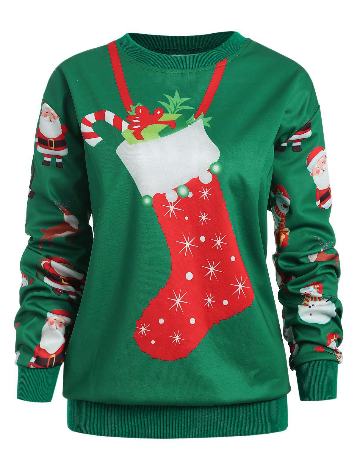 Christmas Socks Print Plus Size Sweatshirt - GREEN 3X