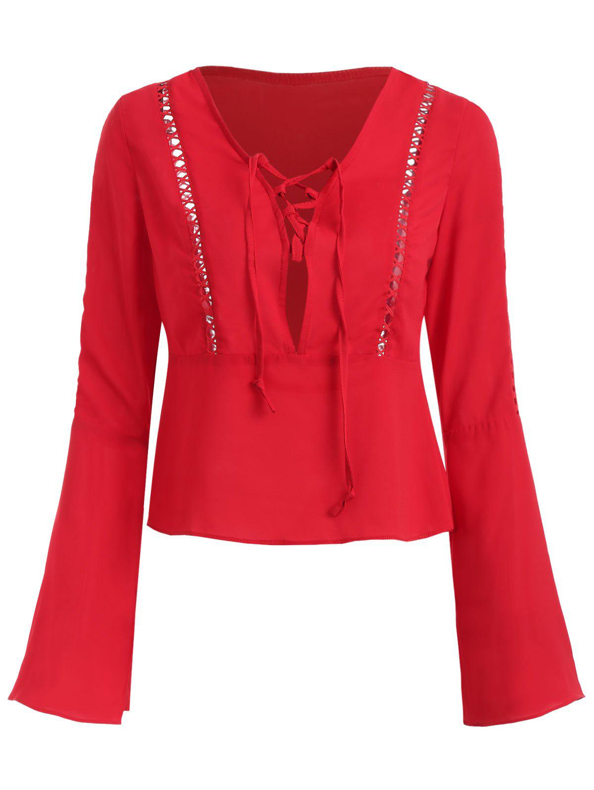 Hollow Out Flare Sleeve Plunging Neckline Blouse - RED XL