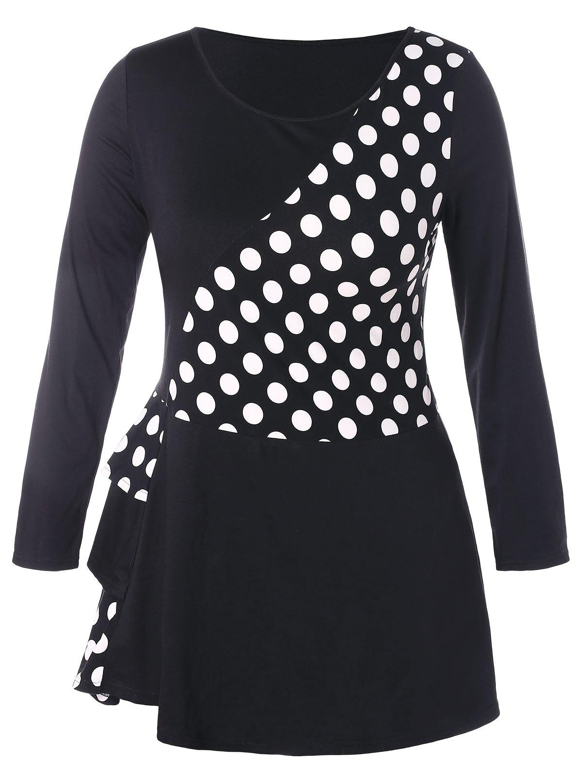 Plus Size Polka Dot Multilayer Flounce Splicing T-shirt - BLACK 1X