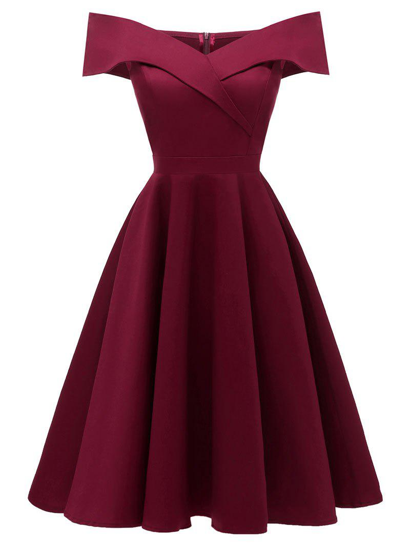 Foldover Off The Shoulder Skater Cocktail Dress - RED WINE S