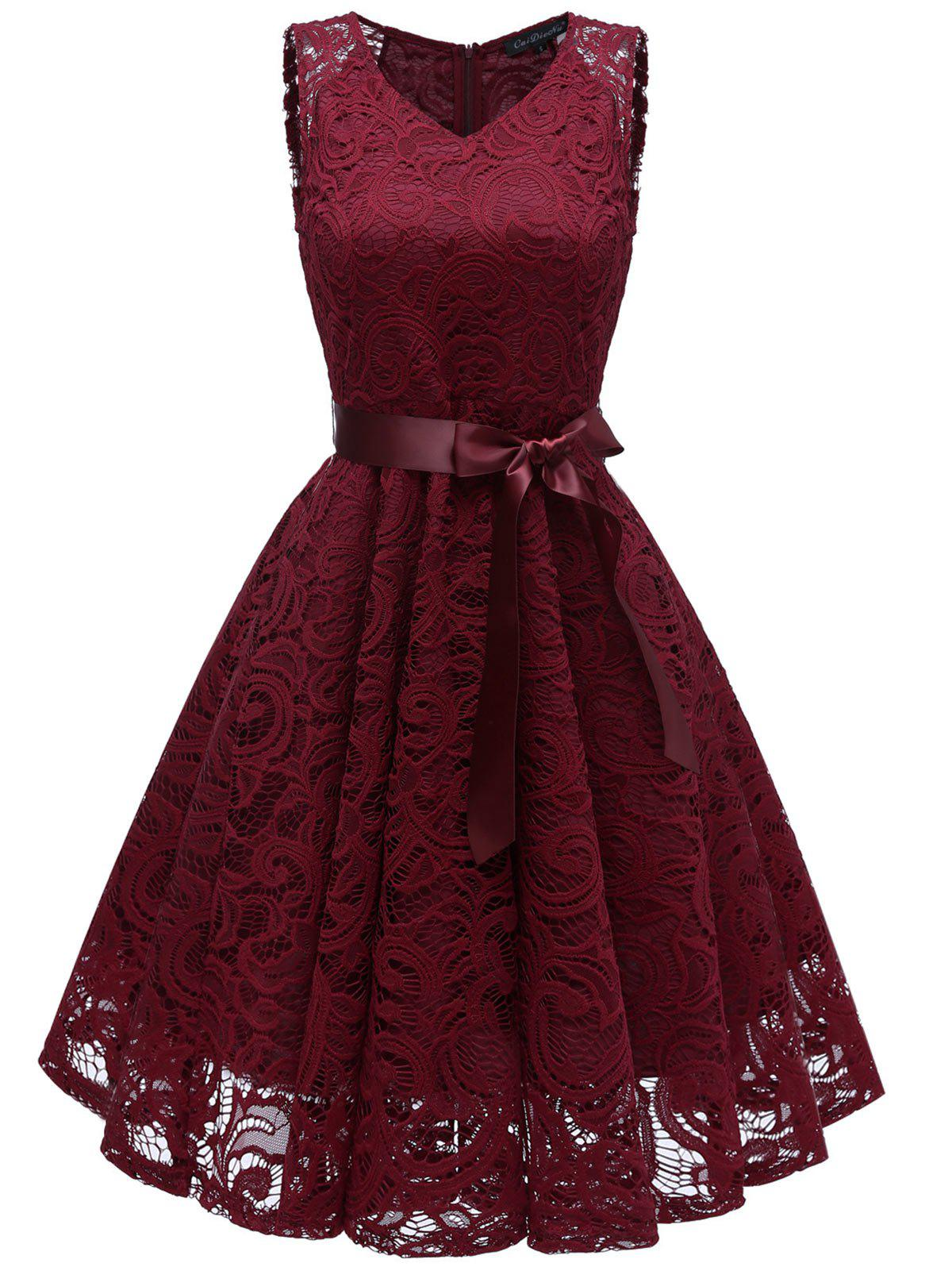 Lace Flare Belted Cocktail Dress - RED WINE XL
