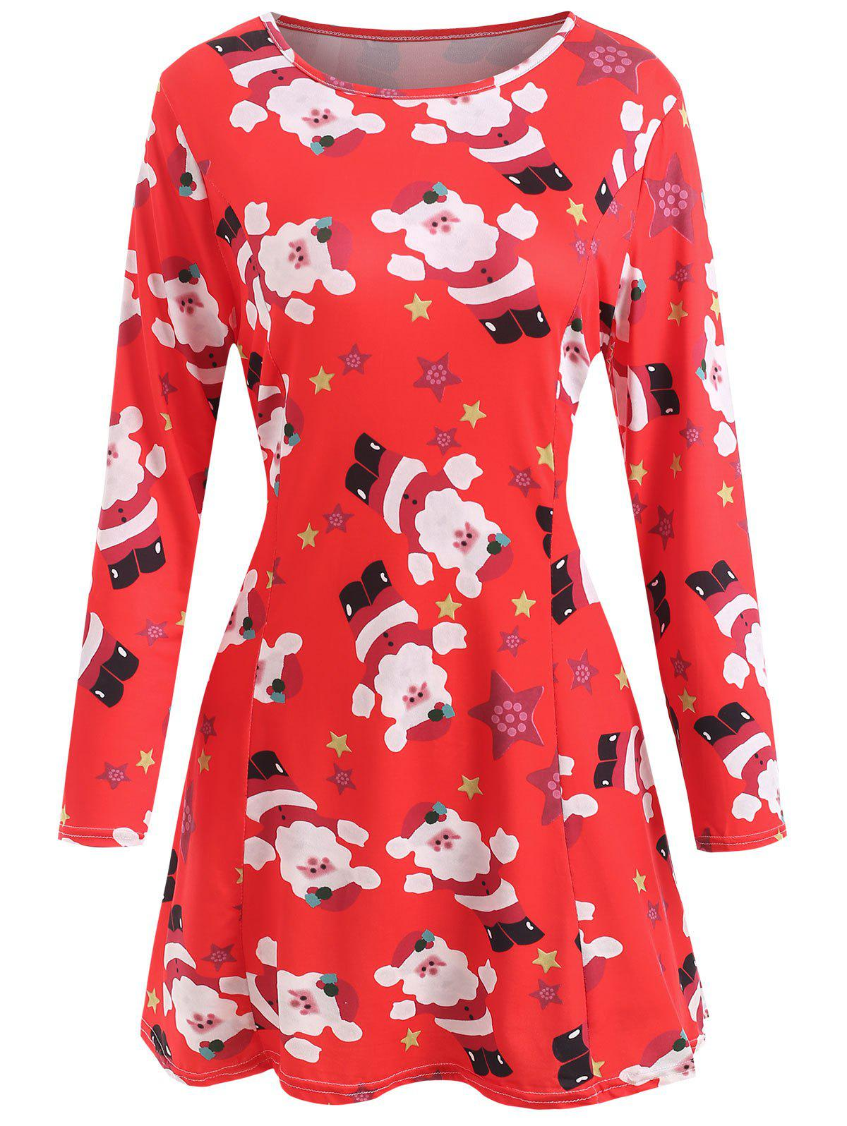 Printed Christmas Fit and Flare Dress - RED L