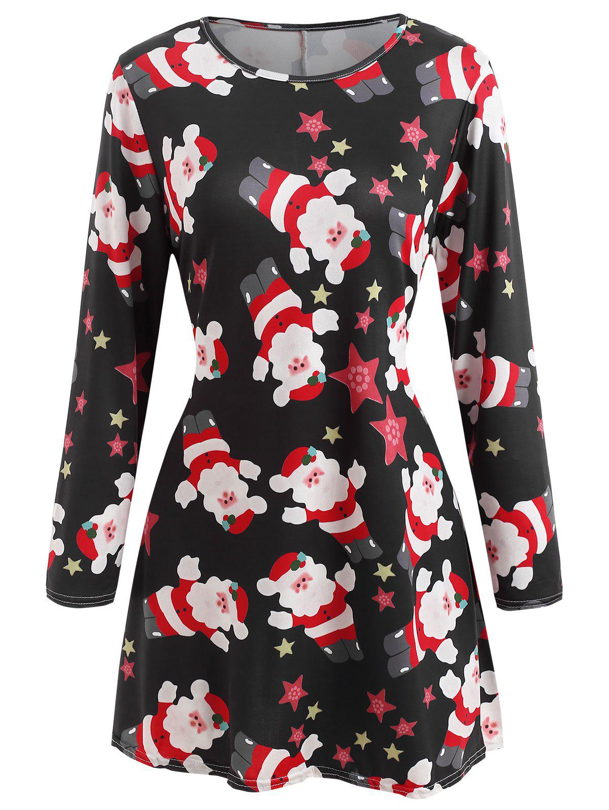Printed Christmas Fit and Flare Dress - BLACK M