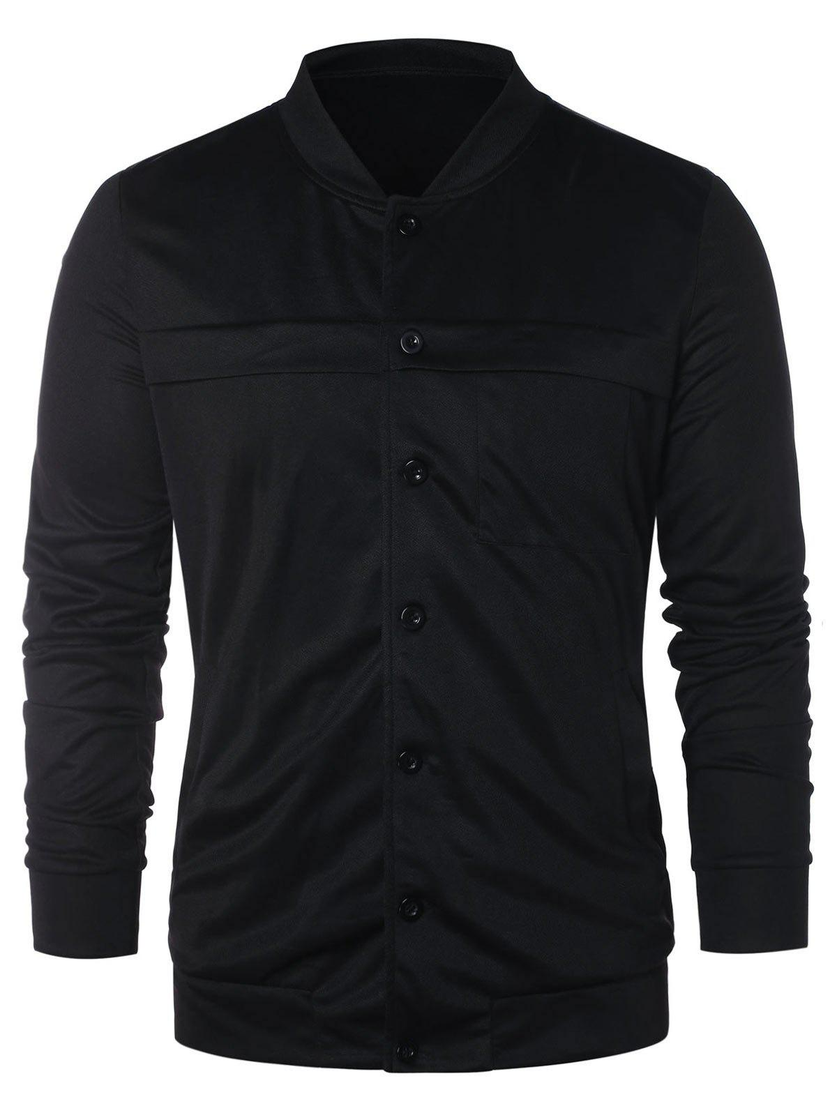 Stand Collar Button Up Solid Jacket - BLACK XL