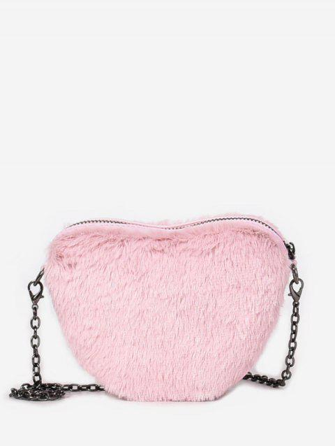 2019 Faux Fur Heart Shape Chain Crossbody Bag In LIGHT PINK ... 5aa1373269155