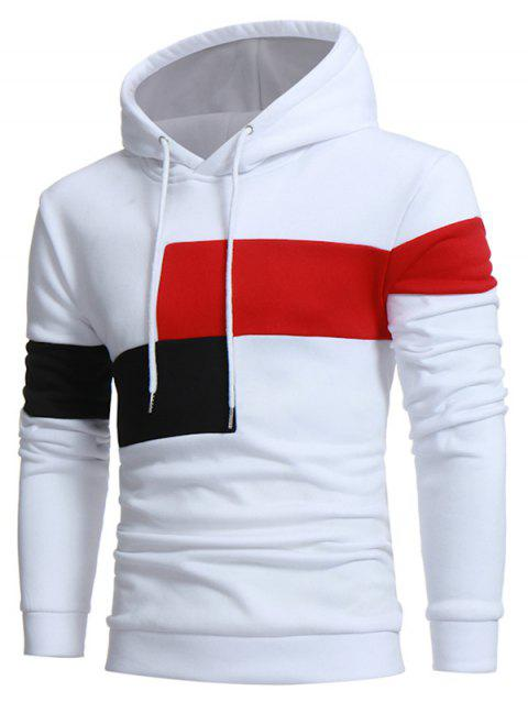 Color Block Pullover Drawstring Casual Hoodie - WHITE L