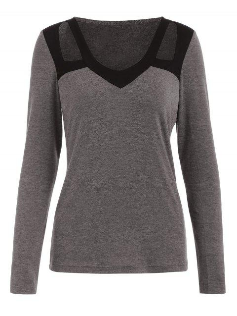Long Sleeve Cut Out Front T-shirt - GRAY XL