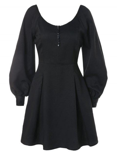 Puff Sleeve High Waist Dress with Buttons - BLACK M