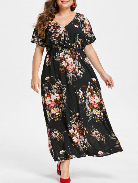 4f5bb4af83c LIMITED OFFER  2019 Plus Size Floral Print Long Dress In BLACK 1X ...