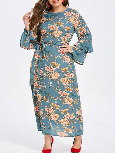 3e815ec34e3 17% OFF  2019 Plus Size Bell Sleeve Floral Print Maxi Dress In ...