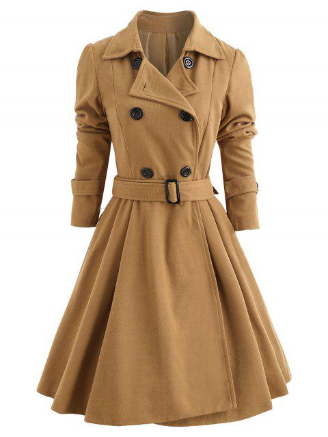 d37b2cf8abd 61% OFF  2019 Double Breasted Fit and Flare Wool Coat In KHAKI S ...
