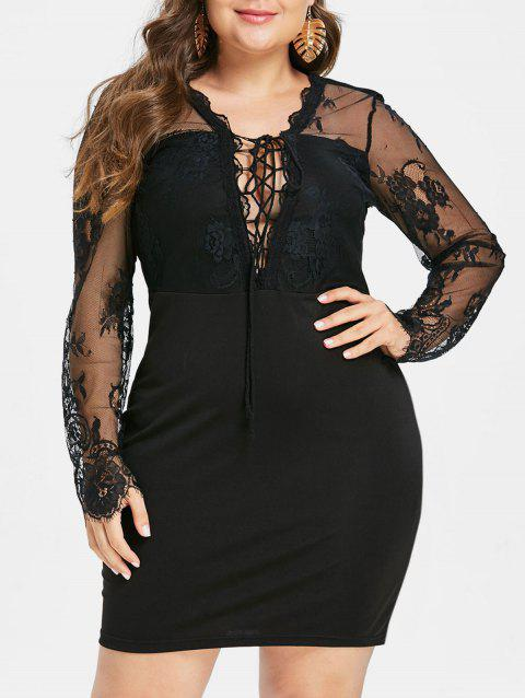 Plus Size Lace Up Bodycon Party Dress - BLACK 1X