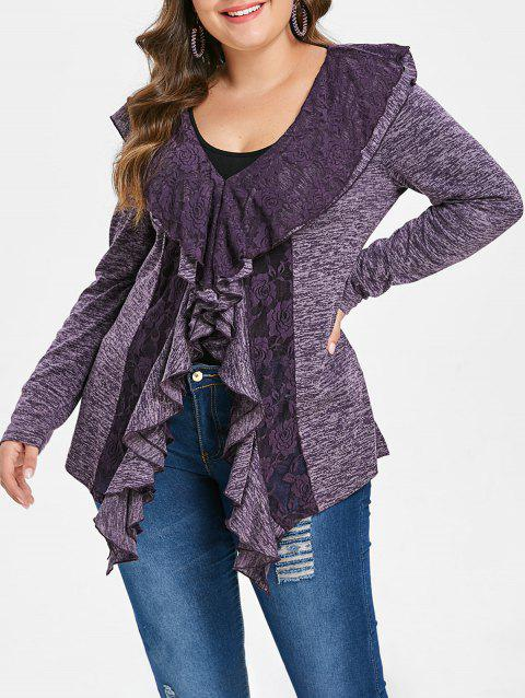 Plus Size Lace Trim Ruffle V Neck T-shirt - PURPLE 1X