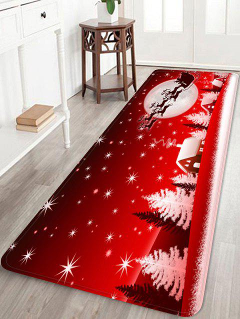 Christmas Snow Printed Non-slip Area Rug - RED W24 X L71 INCH