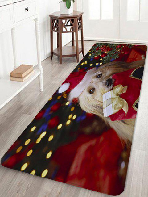 Christmas Dog Pattern Anti-skid Water Absorption Area Rug - multicolor W24 X L71 INCH